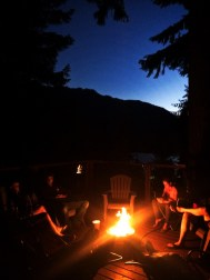 Campfire on deck at VRBO Lake Cushman Family Reunion 1